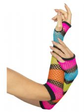 1980's Long Multi-colour Fishnet Gloves